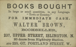 Advert for Walter Brown, book seller